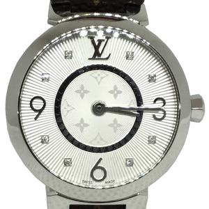 Auth Louis Vuitton Tambour Monogram Quartz Stainless Steel Women's Watch Q13MJb