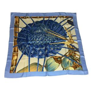 エルメス(Hermes) カレ90 JARDIN CREOLE クレオルの楽園 シルク スカーフ ライトブルー,ホワイト