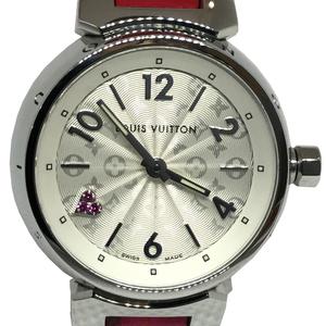 Auth Louis Vuitton Tambour Quartz Stainless Steel Women's Dress Watch Q1218