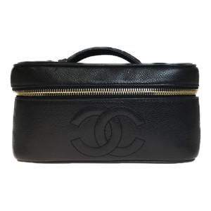 シャネル(Chanel) A01997 レザー バニティバッグ ブラック ココマーク 化粧ポーチ