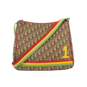 Auth Christian Dior Shoulder Bag Rasta Trotter Beige