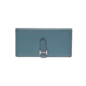 エルメス(Hermes) ベアン エプソン 財布 ブルージーン