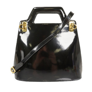 Auth Salvatore Ferragamo 2WAYbag Gancini Leather Black Gold