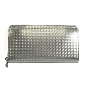 Auth Christian Dior Long Wallet Leather Silver