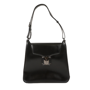 Auth Salvatore Ferragamo Shoulder Bag Vara Leather Black