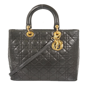 Auth Christian Dior Handbag Lady Dior Black