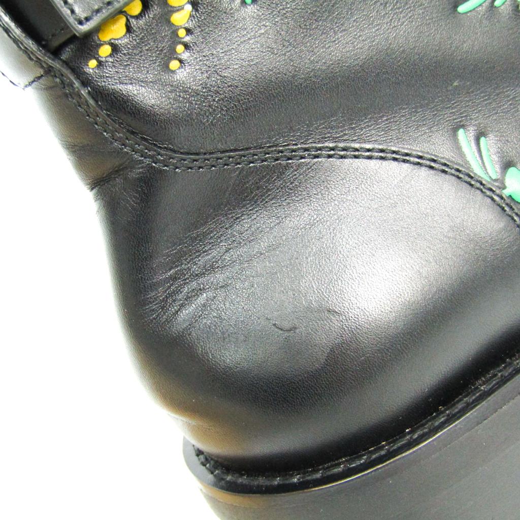 ルイ・ヴィトン(Louis Vuitton) レディース レースアップシューズ (ブラック,マルチカラー) ワンダーランド・ライン フラットレンジャー フラワー