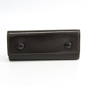 Hermes Etui Clef4 Unisex Box Calf Leather Key Case Dark Brown