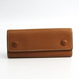Hermes Etui Clef4 Unisex Leather Key Case Camel