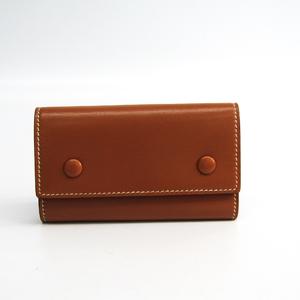 Hermes Etui Clef6 Unisex Box Calf Leather Key Case Camel