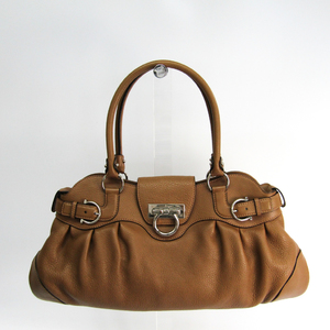 Salvatore Ferragamo Gancini 21 5370 Women's Leather Handbag Light Brown