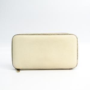 Valextra V9L06 Unisex  Embossed Leather Long Wallet (bi-fold) White