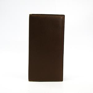Valextra Vertical 12 Card V8L21 Men's Leather Long Bill Wallet (bi-fold) Brown