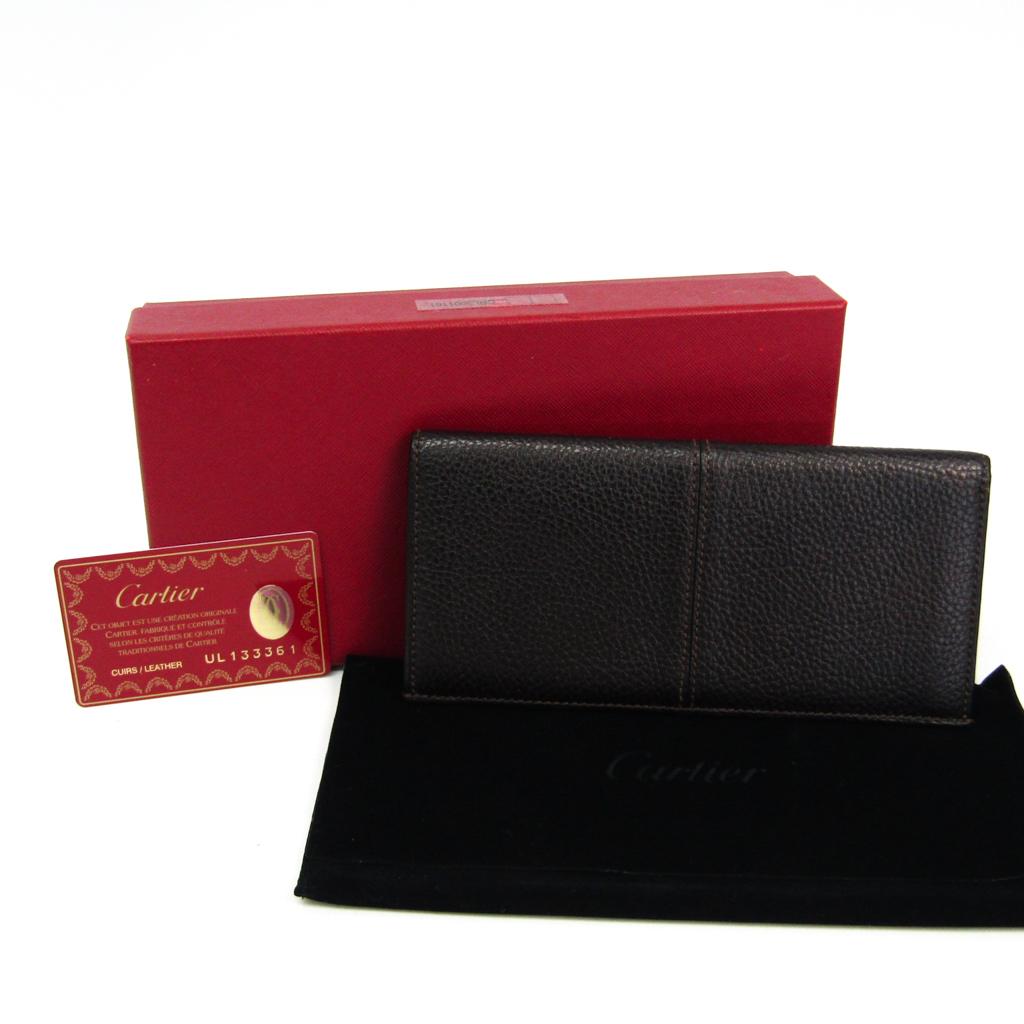 カルティエ(Cartier) L3001161 メンズ レザー 札入れ(二つ折り) ダークブラウン