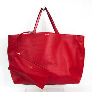 Saint Laurent 314252 Women's Leather Tote Bag Red