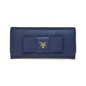 プラダ(Prada) Saffiano 1MH132 サフィアーノ フィオッコ リボン 長財布 Bluette(ブリエッタ),ネイビー