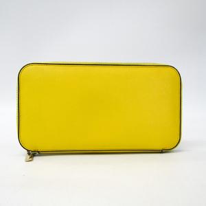 Valextra V9L06 Unisex  Calfskin Long Wallet (bi-fold) Yellow