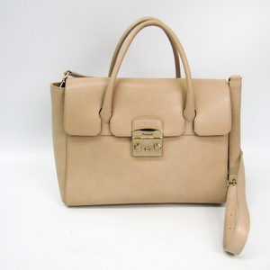 Furla Metropolis Satchel 851179 Women's Leather Handbag,Shoulder Bag Beige