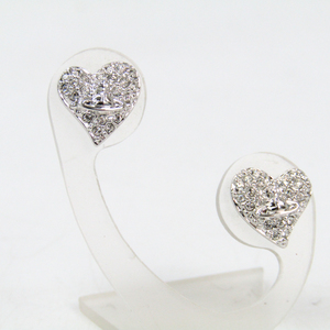 48d8a25ff Vivienne Westwood Heart Metal,Rhinestone Stud Earrings Silver