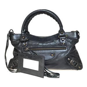 Auth Balenciaga 103208 Leather Handbag,Shoulder Bag 2WAY Black