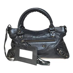 Auth Balenciaga 103208 Leather Handbag,Shoulder Bag 2WAY Black