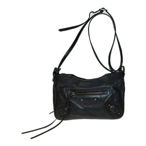 Auth Balenciaga 242803 The hip Leather Shoulder Bag Black