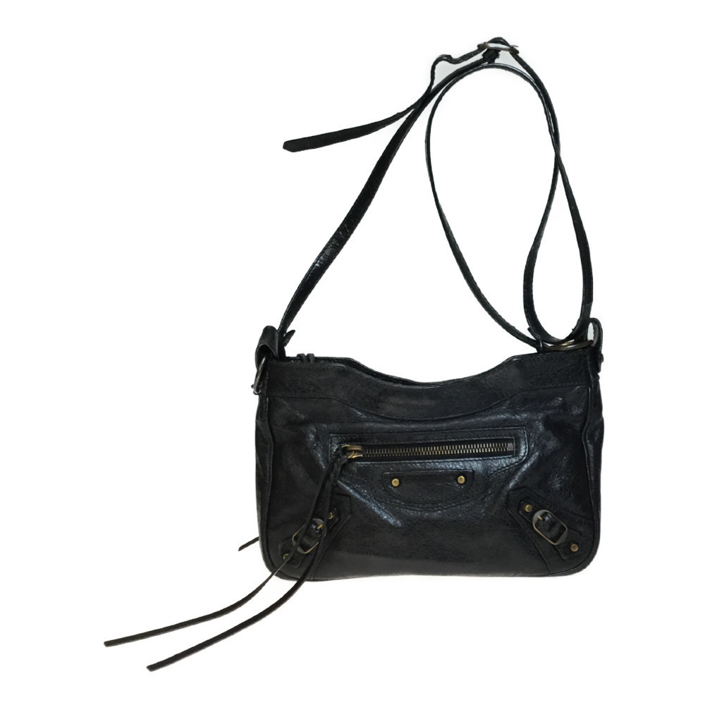 812be3953 Auth Balenciaga 242803 The hip Leather Shoulder Bag Black | eBay
