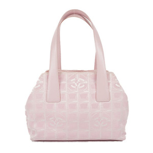 Auth Chanel Handbag New Travel Line Canvas Pink