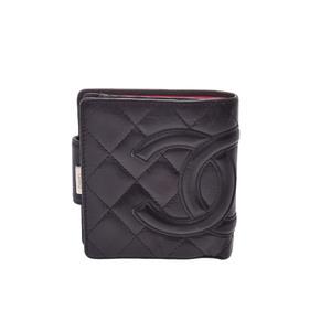シャネル(Chanel) カンボン  ラムスキン 財布 ブラック