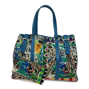 Auth Prada BR2514 Canvas,Leather Tote Bag Light Blue,Multi-color