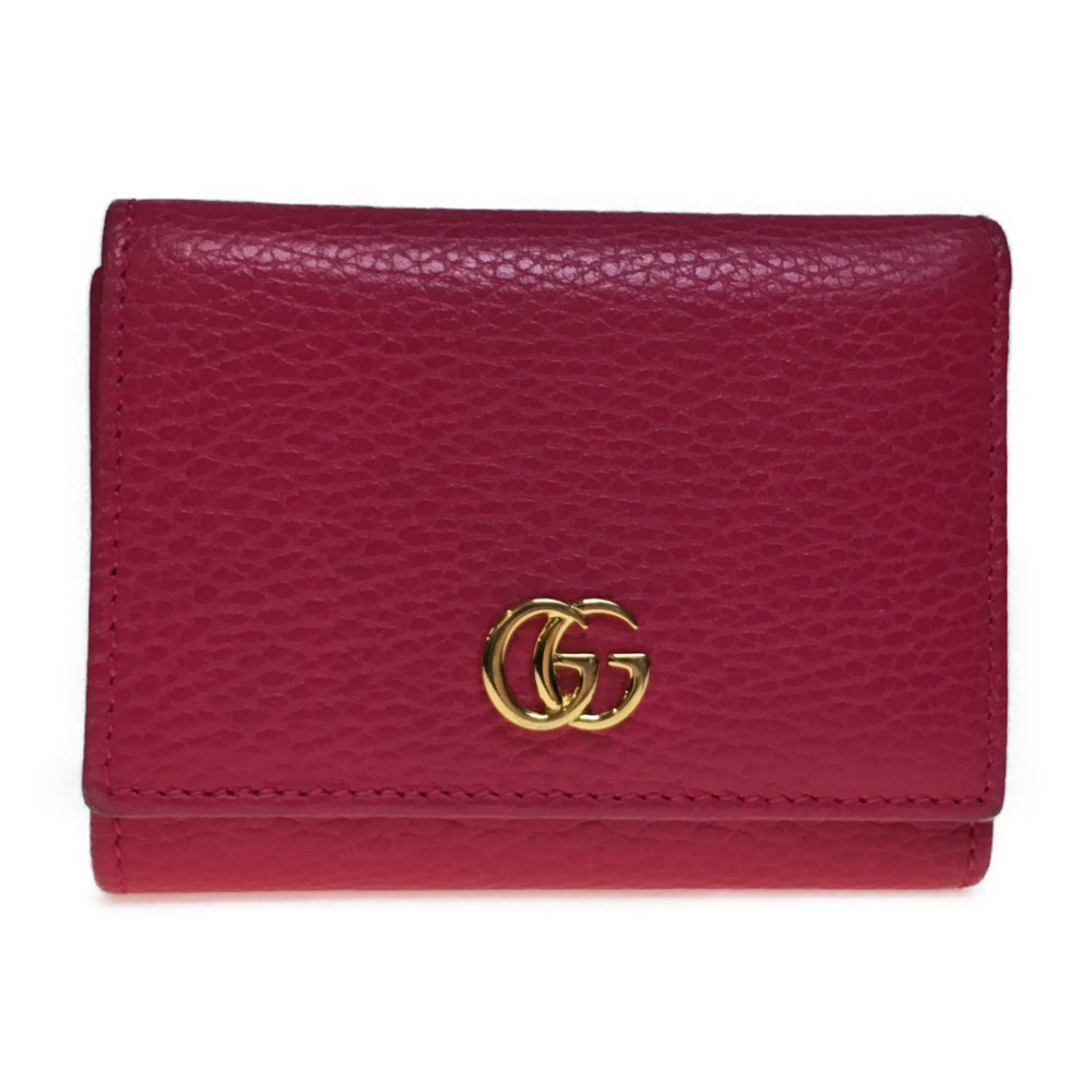quality design 49444 21514 グッチ(Gucci) 474746 プチ マーモント レザー 財布(三つ折り)ピンク | elady.com
