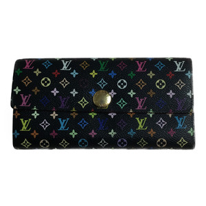 fdced6e41b96 Auth Louis Vuitton Monogram Multicolore M93533 Long Wallet (bi-fold) Noir