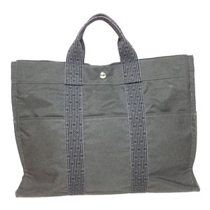 Auth Hermes Her Line Tote MM Canvas Tote Bag Dark Gray