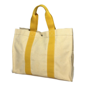 Auth Hermes Bora, GM Canvas Tote Bag Yellow