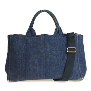 Auth Prada Canapa B2642B Denim 2way Shoulder Bag Tote Bag Navy