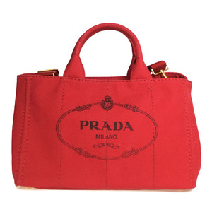 Auth Prada Canapa 1BG642 Women's Canvas Shoulder Bag,Tote Bag Red