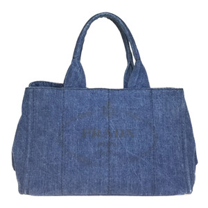 Auth Prada Canapa B1877B DENIM Bag Navy