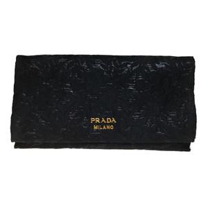 プラダ(Prada) 1MS001 ブロケード ラメ 長財布(二つ折り) ブラック,Nero(ネロ)