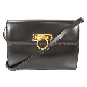Auth Salvatore 2way Clutch Bag Ferragamo Gancini Black
