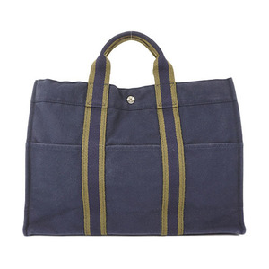 Auth Hermes Fourre Tout MM Tote bag Navyag Navy