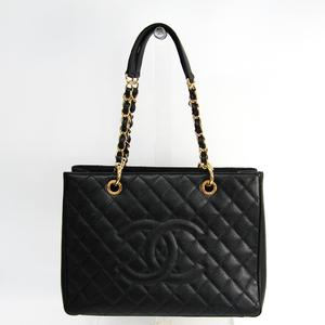 シャネル(Chanel) キャビア・スキン グランド・ショッピング トート GST A50995 レディース レザー ショルダーバッグ ブラック