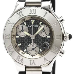 【CARTIER】カルティエ マスト21 クロノスカフ ステンレススチール ラバー クォーツ メンズ 時計 W10125U2