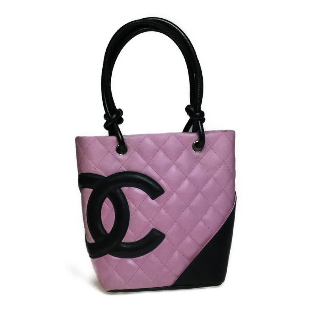 Auth Chanel Ligne Cambon A25166 Small Tote BagLeather Black Pink Coco Mark