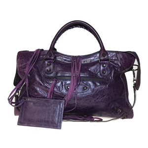 Auth Balenciaga THE City 115748 Editors Handbag Dark Purple