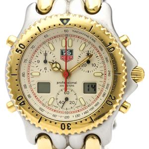 【TAG HEUER】タグホイヤー セル クロノグラフ デジタル アナログ ゴールドプレート ステンレススチール クォーツ メンズ 時計 CG1123