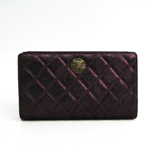 Chanel Matelasse A68927 Women's Satin,Leather Long Wallet (bi-fold) Metallic Purple