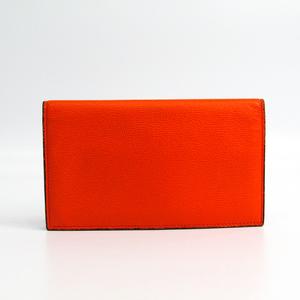 Valextra V8L70 Unisex Leather Long Wallet (bi-fold) Orange