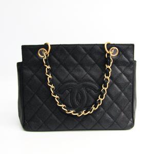 シャネル(Chanel) キャビア・スキン プチ・タイムレス・トート PTT A58004 レザー ハンドバッグ ブラック