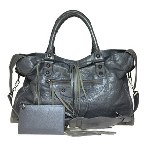 Auth Balenciaga The City Editors 115748 Handbag Gray