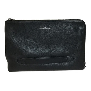 Auth Salvatore Ferragamo 240742 Leather Clutch Bag Black